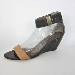 Sam Edelman Sophie Black Brown Wedge Sandals Heels